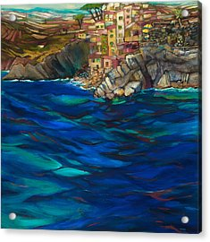Approach To Riomaggiore Acrylic Print by Jen Norton