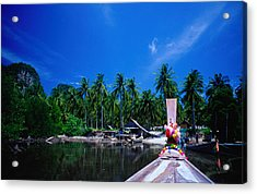 Approaching Ao Bakao By Longboat On The Acrylic Print by Karen Trist