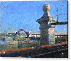 Approaching Hell Gate Bridge By Rail Acrylic Print
