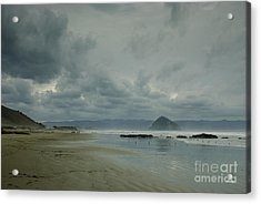 Approaching Storm - Morro Rock Acrylic Print by Terry Garvin
