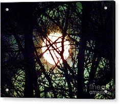 April 3 Am Moon Acrylic Print by Judy Via-Wolff
