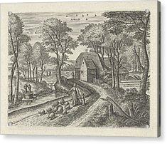 April. Julius Goltzius, Gillis Mostaert Acrylic Print by Gillis Mostaert (i) And Claes Jansz. Visscher (ii)
