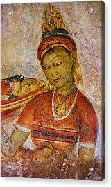 Apsara With Flowers. Sigiriya Cave Painting Acrylic Print