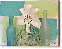 Aqua And Lime And Bubble Vase Acrylic Print by Marsha Heiken
