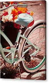 Acrylic Print featuring the digital art Aqua Bicycle by Valerie Reeves