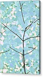 Aqua Blues Greens Leaves Melody Acrylic Print by Jennie Marie Schell