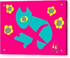 Aqua Cat Acrylic Print by Anita Dale Livaditis