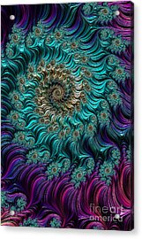 Aqua Swirl Acrylic Print by Steve Purnell
