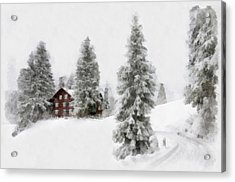 Aquarell - Beautiful Winter Landscape With Trees And House Acrylic Print
