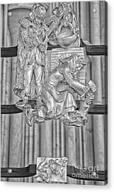 Aquarius Zodiac Sign - St Vitus Cathedral - Prague - Black And White Acrylic Print by Ian Monk