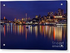 Aquatic Park Blue Hour Wide View Acrylic Print by Kate Brown