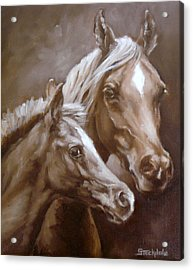 Acrylic Print featuring the painting Arab Mare And Foal by Margaret Stockdale