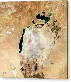Aral Sea Acrylic Print by Nasaearth Observatory/jesse Allen