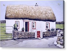 Acrylic Print featuring the painting Aran Island Thatched Roof Cottage  by Melinda Saminski
