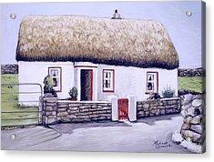 Aran Island Thatched Roof Cottage  Acrylic Print by Melinda Saminski