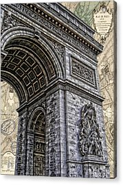 Arc De Triomphe - French Map Of Paris Acrylic Print by Lee Dos Santos