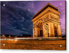 Arc De Triomphe At Dusk In Paris Acrylic Print by James Udall