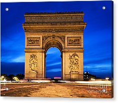 Arc De Triomphe At Night Paris France  Acrylic Print