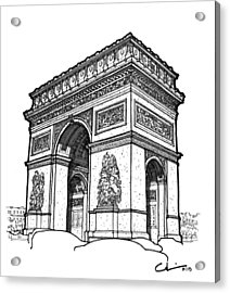 Acrylic Print featuring the drawing Arc De Triomphe by Calvin Durham