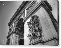 Acrylic Print featuring the photograph Arc De Triomphe In Black And White by Jennifer Ancker