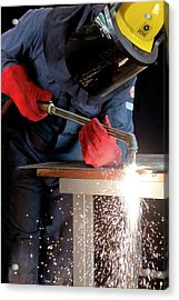 Arc Welder At Work Acrylic Print by Crown Copyright/health & Safety Laboratory Science Photo Library