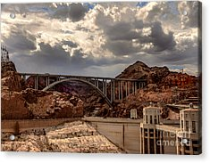 Arch Bridge And Hoover Dam Acrylic Print by Robert Bales