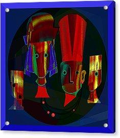 Archaic Heads - 837 Acrylic Print by Irmgard Schoendorf Welch