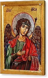 Archangel Michael Icon Acrylic Print by Ryszard Sleczka