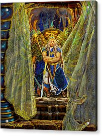 Acrylic Print featuring the painting Archangel Michael-angel Tarot Card by Steve Roberts