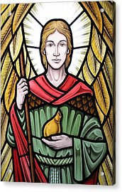 Archangel Raphael Detail Acrylic Print by Gilroy Stained Glass