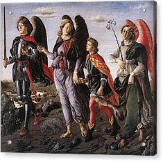 Archangels With Tobias Acrylic Print by Renaissance Master