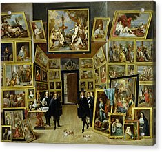 Archduke Leopold Wilhelm 1614-61 In His Picture Gallery, C.1647 Oil On Copper Acrylic Print by David the Younger Teniers