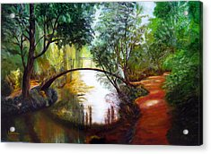Arched Bridge Over Brilliant Waters Acrylic Print