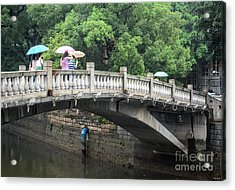 Arched Chinese Bridge With Umbrellas - Shamian Island - Guangzhou - Canton - China Acrylic Print