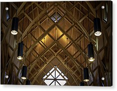 Arched Trusses - University Of Florida Chapel On Lake Alice Acrylic Print by Lynn Palmer
