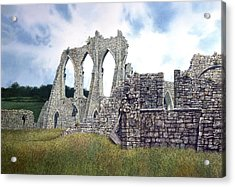 Acrylic Print featuring the painting Arches Of Bayham Abbey by Tom Wooldridge