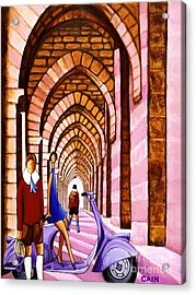 Arches Vespa And Flower Girl Acrylic Print by William Cain
