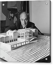 Architect Philip Johnson With A Model Acrylic Print