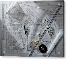 Architectural Blueprints With Rulers Acrylic Print by Dorling Kindersley/uig