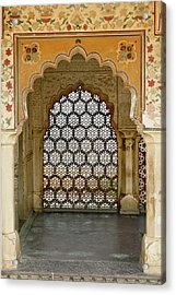 Architectural Details, Amber Fort Acrylic Print by Adam Jones