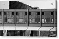 Architectural Pattern Glass Bridge Black White Acrylic Print