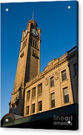 Architecture Of The Past - A Tall Station Clock Tower Acrylic Print