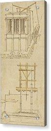 Architecture With Indoor Fountain From Atlantic Codex  Acrylic Print by Leonardo Da Vinci