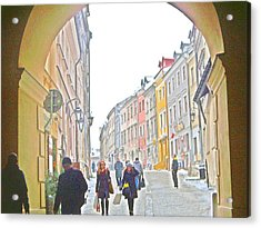 Archway Wall Into Lublin / Old City Acrylic Print by Rick Todaro
