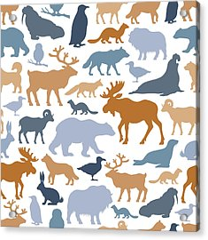 Arctic Animals Pattern Acrylic Print by Alonzodesign