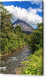 Arenal From The Rio Agua Caliente Acrylic Print