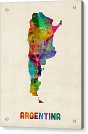 Argentina Watercolor Map Acrylic Print by Michael Tompsett