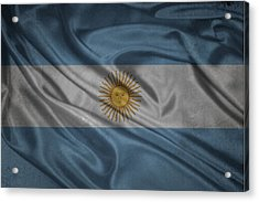 Argentinian Flag Waving On Canvas Acrylic Print by Eti Reid
