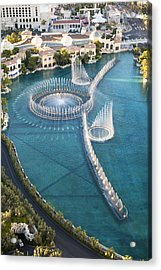 Arial View Of Bellagio Fountains On Las Vegas Strip Acrylic Print by Alina555