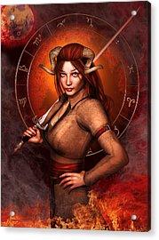 Aries Fantasy Zodiac Edition Acrylic Print by Britta Glodde